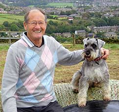 Max the Schnauzer with elderly man
